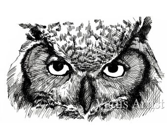 Pen and Ink Owl Drawing Great Horned Owl Art Print 8x10