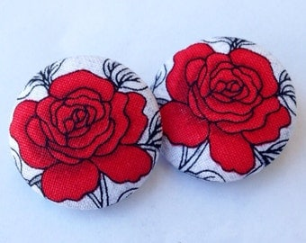 White & Red Rose Floral Fabric Button Earrings