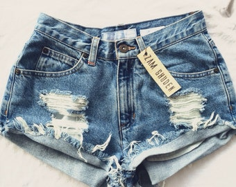 Vintage high waist or low rise distressed shorts custom made