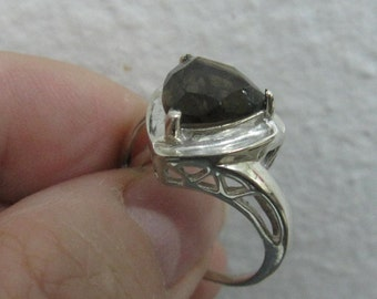 Smokey Quartz Sterling Silver Ring Sizes 6 and 8