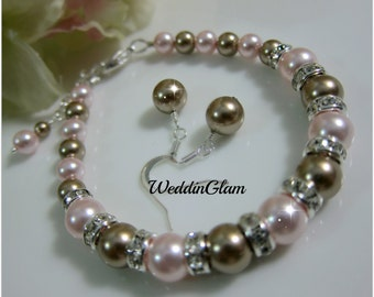 Weddings, Jewelry, Bridesmaid Pink Brown Jewelry Set. Swarovski Pearl Set, Pearl Wedding Jewelry, Bridesmaid gift set, Bridal Party Gift