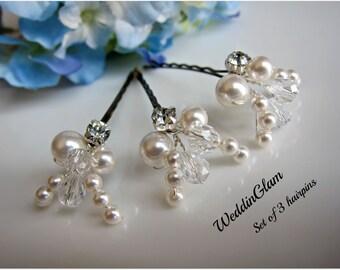 White Ivory hair pins, Bridal pearl Hair Pins, Wedding Hair Accessories, Swarovski Pearl Wedding Hair Pin Set of 3 Hair Pin, Floral Vine Pin