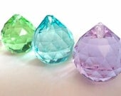 3pc Chandelier Crystals 30mm Ball Lilac Spring Green Antique Green Aqua Chandelier Crystal Prisms Shabby Chic