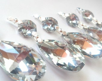 5 Silver Teardrop 38mm Chandelier Crystals Shabby Chic