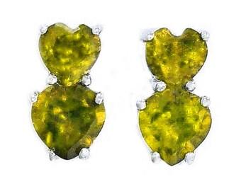 3 Ct Peridot Double Heart Stud Earrings .925 Sterling Silver Rhodium Finish