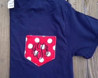 Ladies/Girls Custom Monogram Pocket Tee
