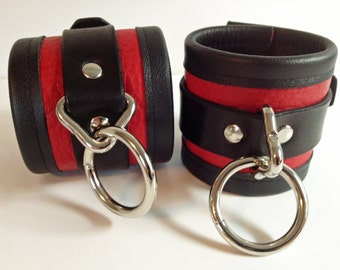 Handmade Bullhide Leather Wrist/ankle Cuffs with Cowhide Edges
