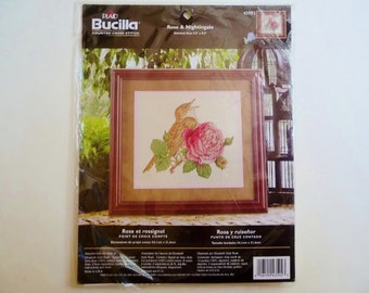 "Rose Bird Cross Stitch Kit Bucilla Rose & Nightingale 9.5"" x 8.5"" New Unopened"