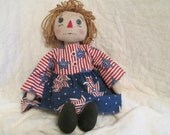 Americana Annie,Primitive Rag Doll,Patriotic Folk Art