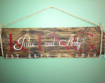 Last name hanging sign