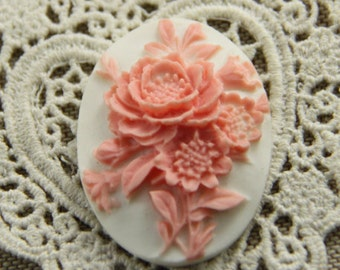 12 pcs of resin flower cameo-30x40mm-RC0401-2-pink on white