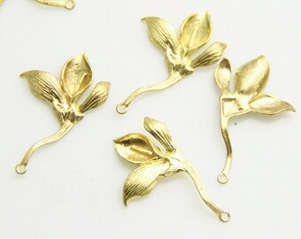 6 pcs of brass floral charm pendant  30x18mm-1669-Raw brass