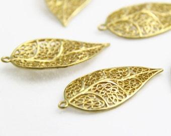 6 pcs of brass filigree leave charm pendant -45x23mm-1692-raw brass