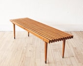 SALE - Long Slat Table Mid Century Bench