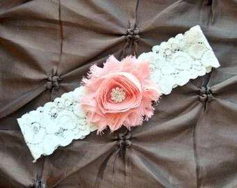 Wedding Garter, Bridal Garter - Lace Garter, Toss Garter, Shabby Chiffon Rosette Vintage Peach, Ivory Lace Wedding Garter, Custom Garter