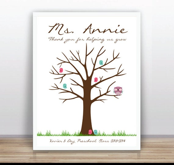 teacher thumbprint tree printable wedding baby shower blue custom