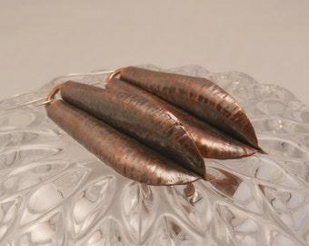 Copper Form Folded Leaf Earrings