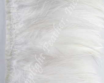 Rooster hackle trim, White on bias tape, per 5 yards