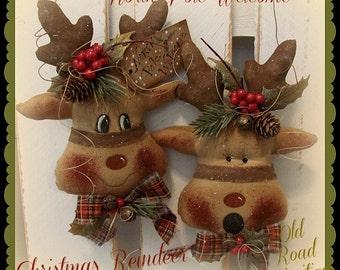 Primitive Reindeer Pattern North Pole Welcome Christmas Reindeer ePattern