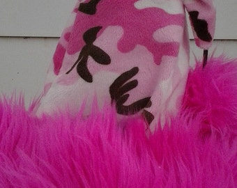 CLEARANCE!!! Pink camo Santa hat with Hot pink shaggy trim