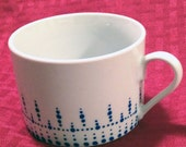 Coffee Cup with Hand Painted Blue Dotted Pattern