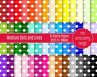 75% OFF Sale - 42 Digital Papers - Medium Dots and Lines - Instant Download - JPG 12x12 (DP133)