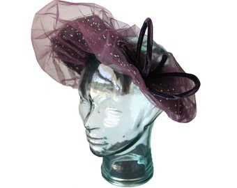 Vintage 1940's/1950's Purple Hat with Netting by Gwenn Pennington