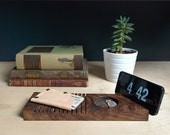 "Walnut Phone & Change Valet : Hand-carved wooden valet for phone, wallet and change, ""The London"""
