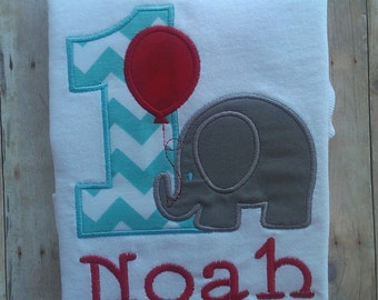 Personalized Elephant Birthday Shirt / First Birthday Shirt / Boys Birthday Shirt