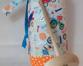Robots and Orange Polka Dots Padded Drop Spindle Bag / Spinning Project Bag or Wine Tote