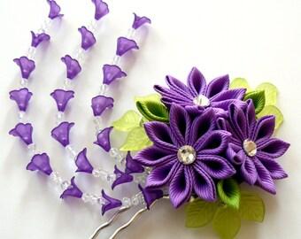 Purple Kanzashi fabric flower hair fork.  Purple kanzashi flower hair U pin. Japanese hair fork. Kanzashi hair stick. Oriental hair pin.