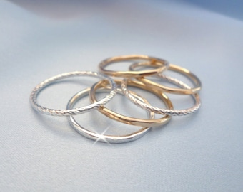 Silver and Gold Stacking Rings, Stacking Rings, Stacking Ring Sets, Silver and Gold Narrow Rings, Dainty Rings, Gold Filled Rings, Skinny