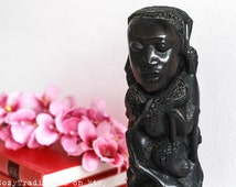 African Statue, Wooden Sculpture / Figurine: African Art Vintage Hand Carved Wood Sculpture Statue of a Woman Holding Children