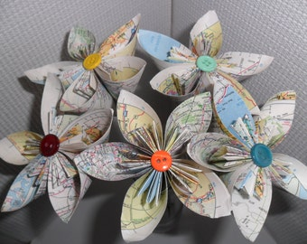 Map Origami Paper Flowers birthday,wedding,anniversary,class decoration