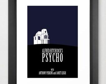 Psycho Minimal Movie Poster (in blue)
