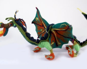 Needle felted dragon. Felted dragon, Kelly green wings, orange highlights and chartreuse legs.  Interactive, adjustable, for play or decor.