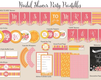 Bridal Shower Printable Party, Pink/Orange/Yellow, Includes Cupcake Toppers, Banner, Tags and More