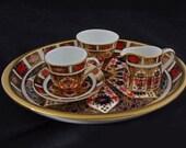 Royal Crown Derby Miniature Tea Set Old Imari Porcelain Tray, Cup, Saucer, Creamer, Open Sugar Bowl - 20th Century England