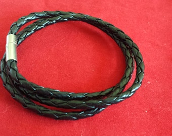 Black Handmade Leather Braided Wrap Bracelet