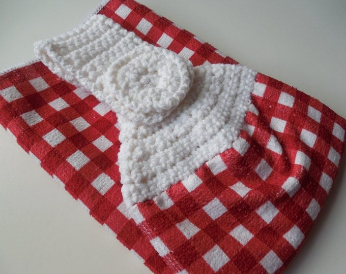 Red and White Checker Crochet Top - Hanging Kitchen Towel - Crochet Handmade - Ready to Ship
