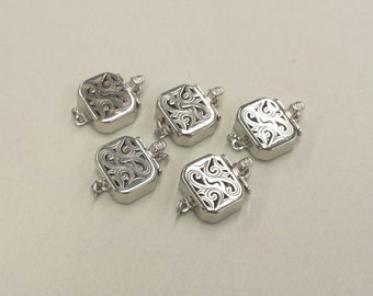 1 Set, Box Clasp, 18K White Gold Vermeil, Filigree Square, Single-strand, Necklace or Bracelet Clasp, High Quality DIY Supplies