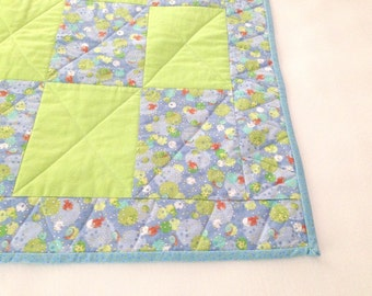 Baby Quilt, Handmade Quilt, Fish Quilt, Crib Blanket, Baby Gift, Lake Theme, Blue and Green