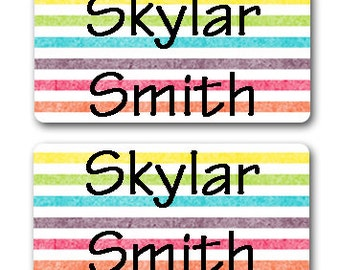 40 Waterproof Baby Bottle Labels - Rainbow Stripes - Dishwasher Safe - Sippy Cup Labels - School Labels