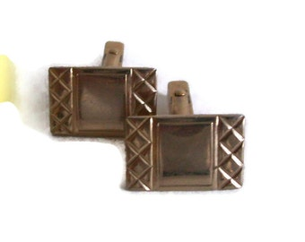 Vintage Cuff Links Rectangular Gold Tone