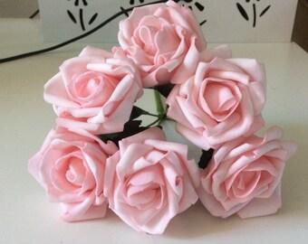 72 pcs Light Pink Wedding Arrangement Flowers Artificial Fake Roses For Bridal Bouquet Floral Wedding Table Centerpiece Decor
