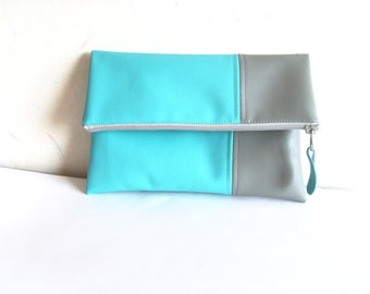 Leather clutch purse, foldover clutch, vegan leather clutch, turquoise blue, grey, zippered clutch purse