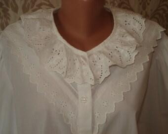 WHITE COTTON lace BLOUSE elegant cotton shirt vintage women's cotton white blouse Gift idea