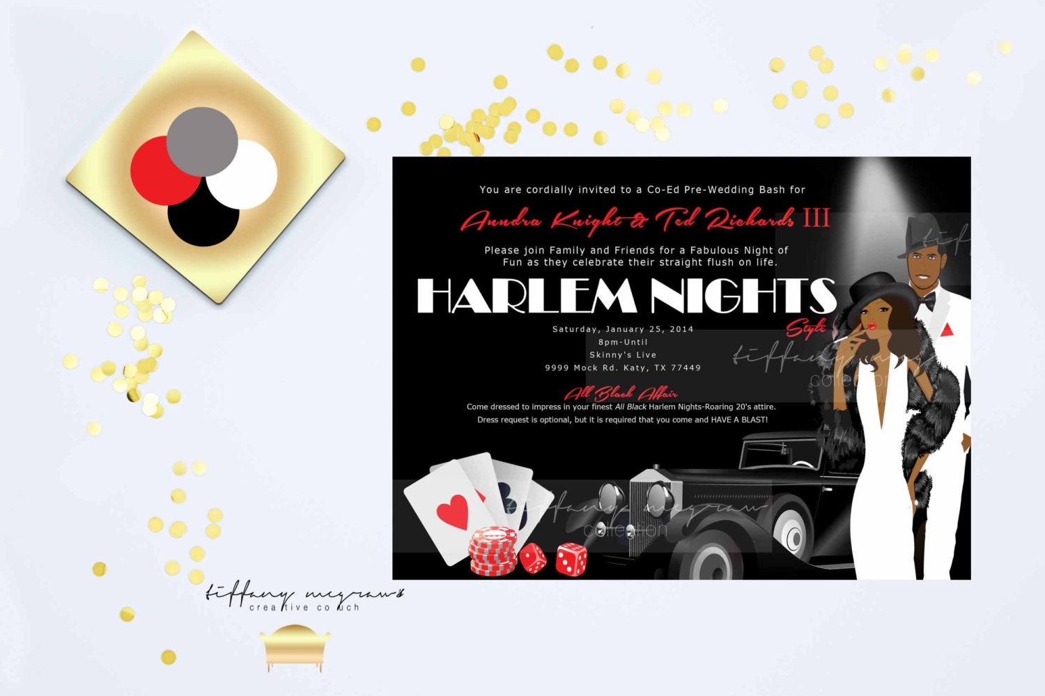 Harlem Nights Themed Engagement Party