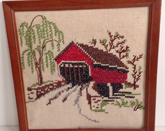 Vintage red bridge and tree embroidery wall hanging