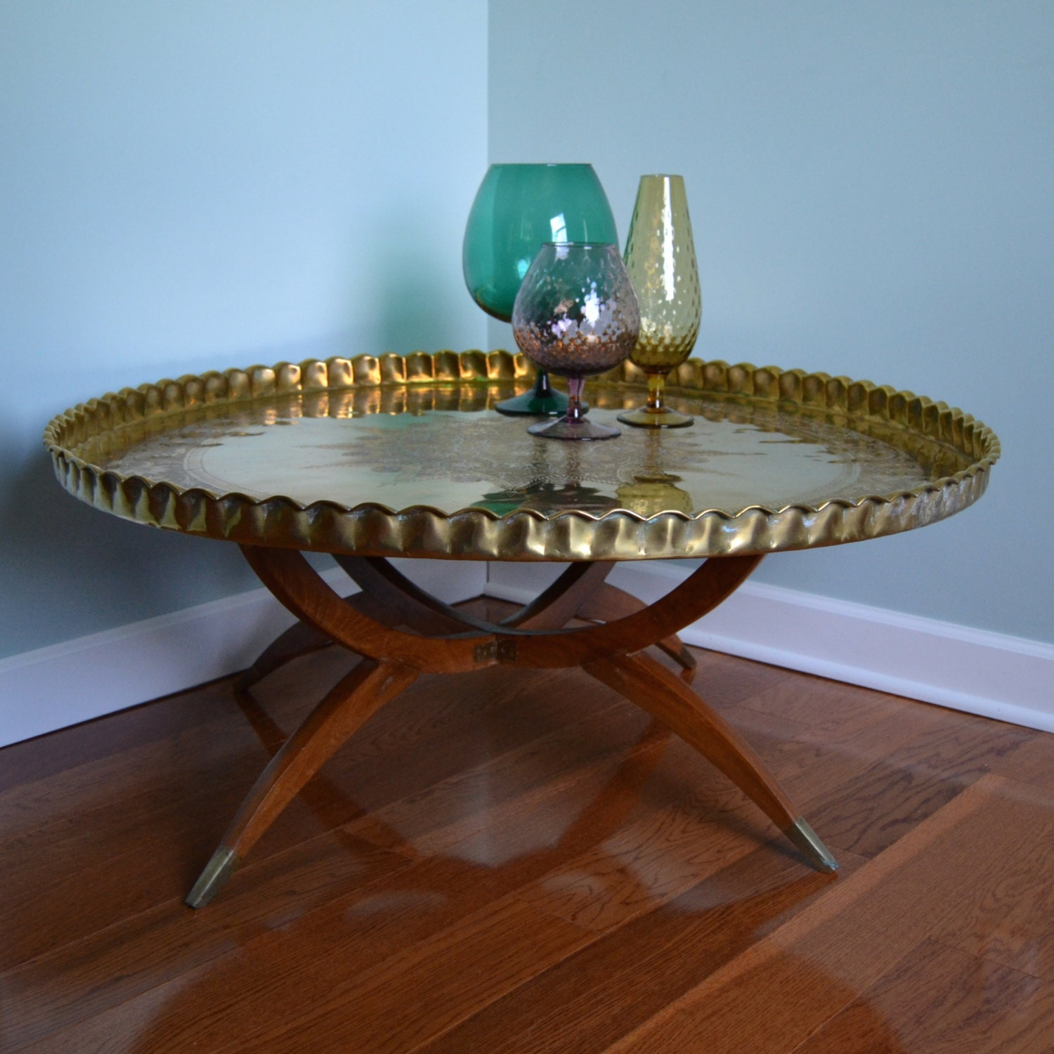 Gorgeous LARGE Vintage Moroccan Brass Tray Coffee Table